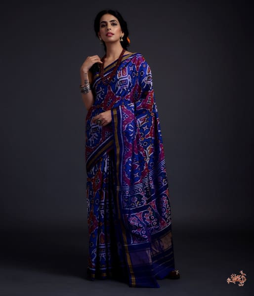 Pure Silk Gujarat Patola Saree In Royal Blue With Elephant Motifs Saree