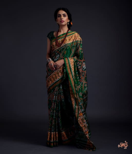 Emerald Green Single Ikat Patola Saree With Tissue Border Saree