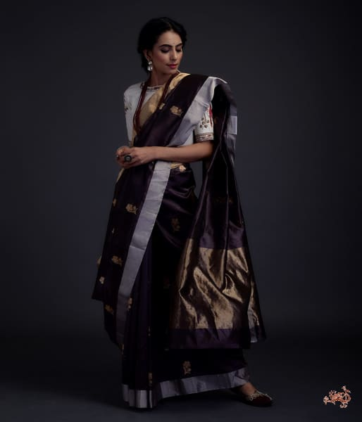 Coffee Brown Chanderi Silk Saree With Gold Zari Meenakari Boota Saree