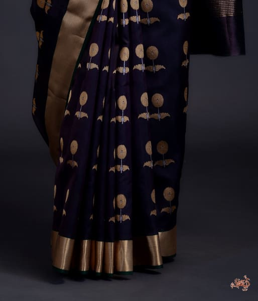 Purple And Green Dual Tone Chanderi Silk Saree With Gold Silver Zari Floral Motifs Saree