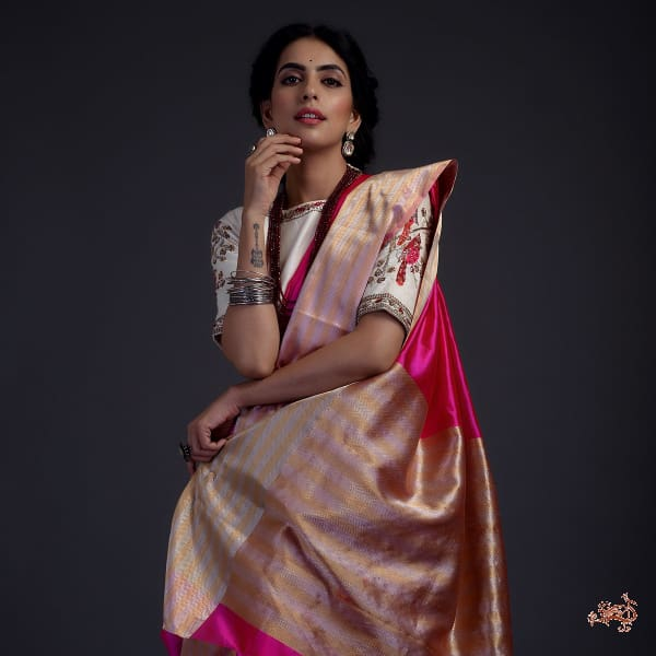 825c7f912ea Hot Pink silk chanderi saree with Gold and silver borders - WeaverStory