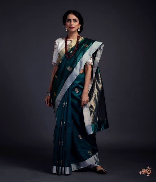 Teal Green Chanderi Silk Saree With Gold Zari Meenakari Boota Saree