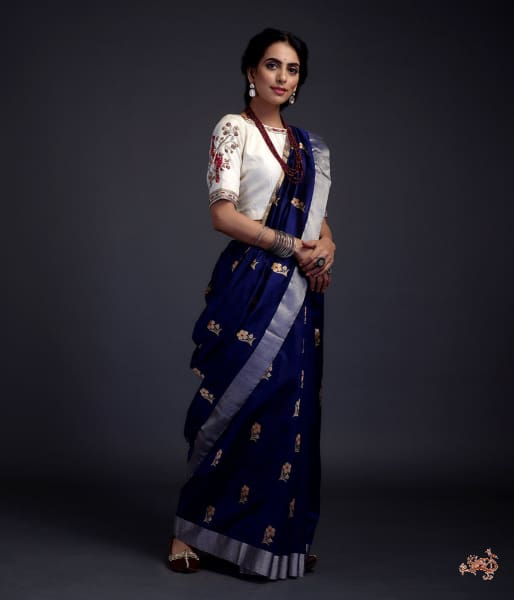 Royal Blue Chanderi Silk Saree With Gold Zari Meenakari Boota Saree