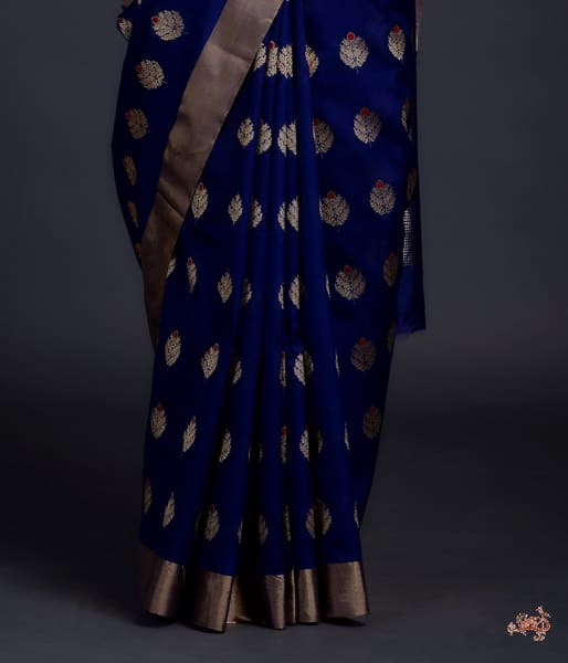 Royal Blue Chanderi Silk Saree With Gold Zari Boota Meenakari Saree