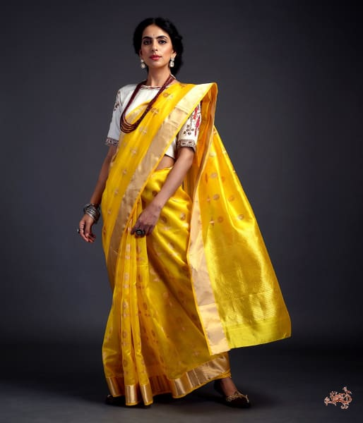 Yellow Chanderi Silk Saree With Gold And Silver Zari Floral Motifs Saree