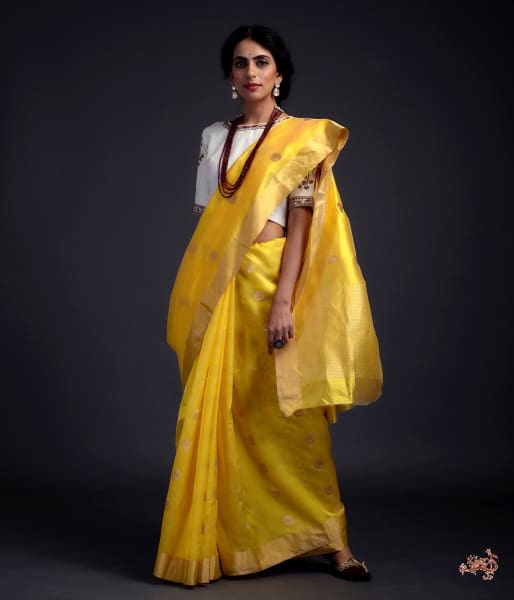 Yellow Chanderi Silk Saree With Gold Zari Chaand Boota Saree