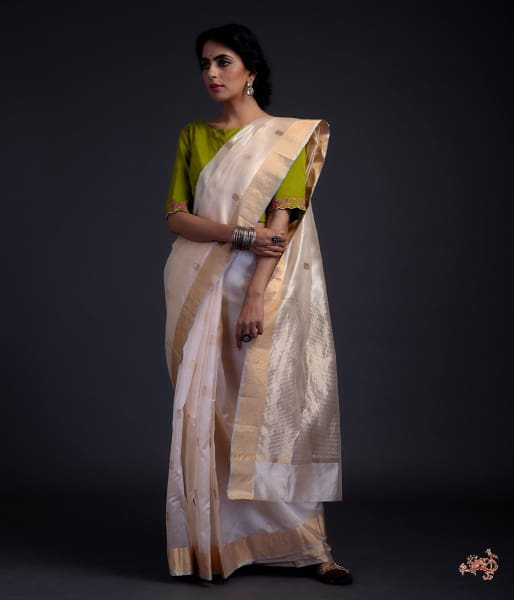 Soft Peach Chanderi Silk Saree With Small Floral Motifs Saree