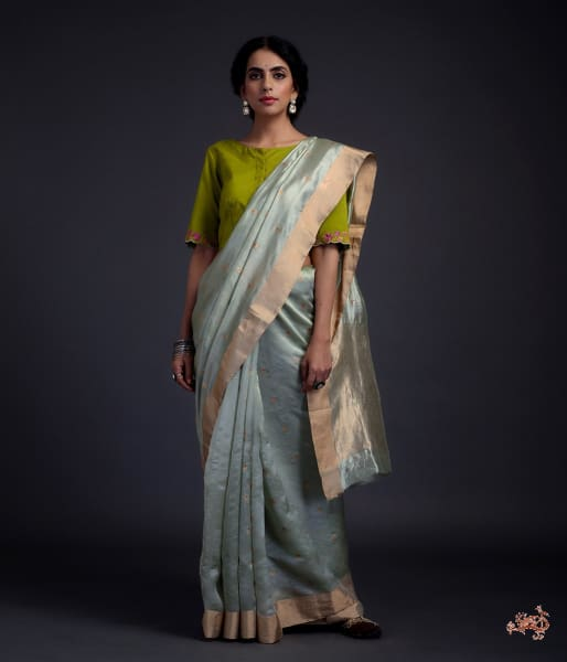 Sage Green Chanderi Silk Saree With Small Floral Motifs Saree