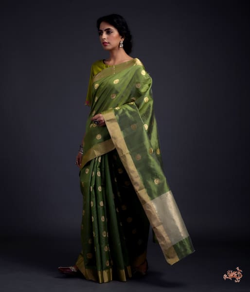 Henna Green Chanderi Silk Saree With Gold Zari Chaand Boota Saree