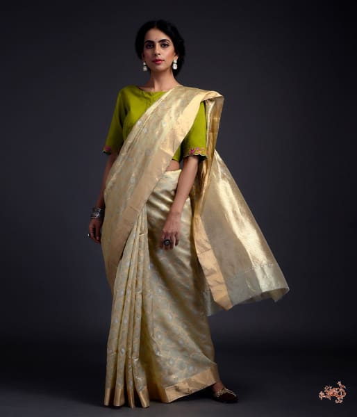 Pistachio Green Chanderi Silk Jangla Saree