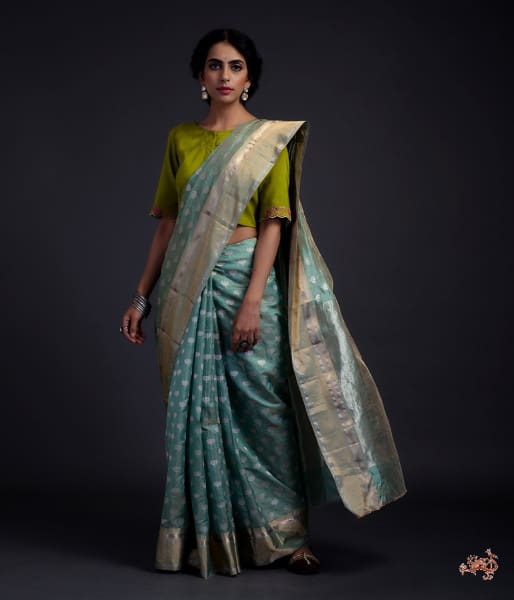 Green Chanderi Silk Saree With Floral Motifs And A Tissue Weft Saree