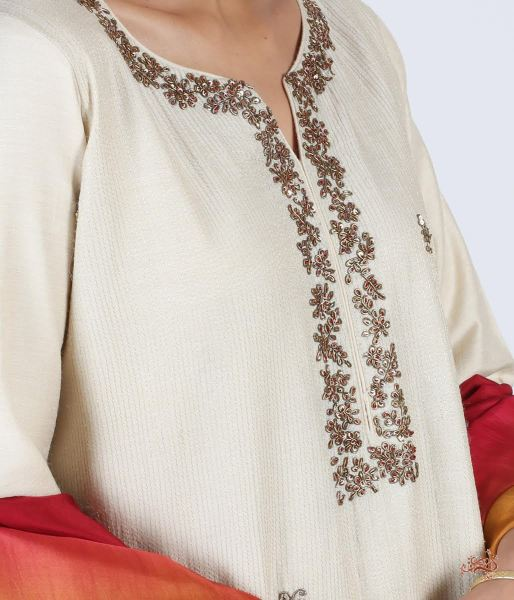 Hand Embroidered Pure Silk Ensemble In Natural Tussar Ready To Wear Silk Ensembles