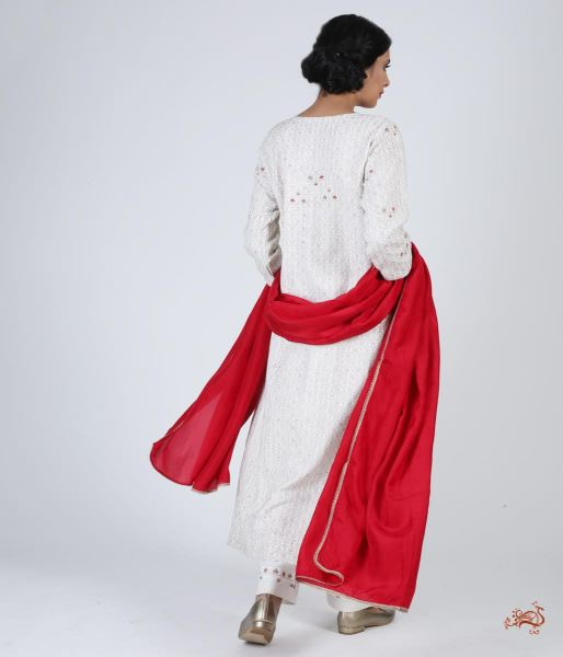 Hand Embroidered Pure Silk Ensemble In Pearl White Ready To Wear Silk Ensembles