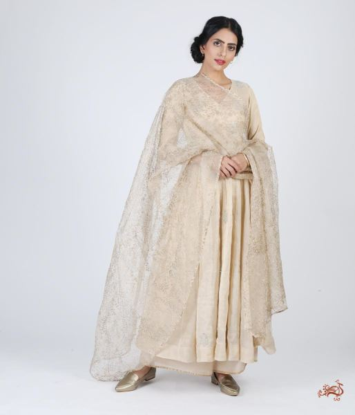 Hand Embroidered Pure Silk Ensemble In Light Gold Ready To Wear Silk Ensembles