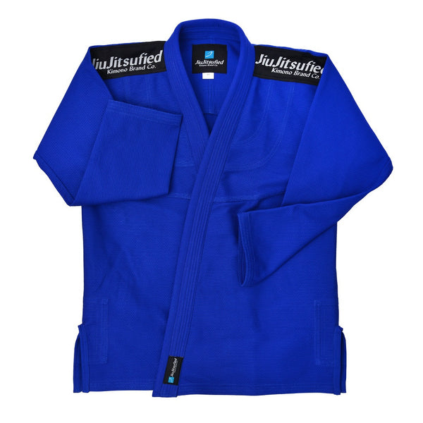 Kids Pearl Weave Jacket & Pants Ripstop Fabric- BJJ Gi (Blue)