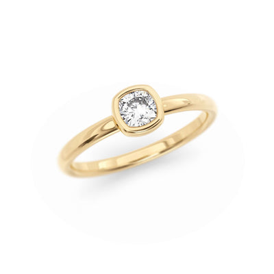 Classic Bezel Cushion | Diamond or Moissanite Solitaire Ring | Yellow Gold