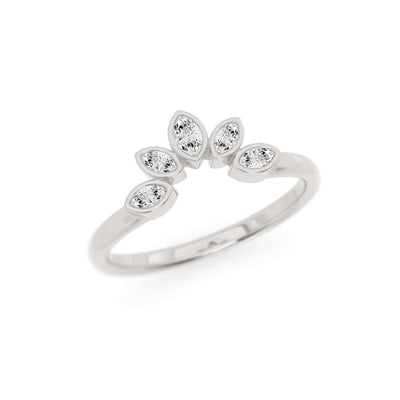Classic Bezel Nesting Band | Diamond Marquise Ring Enhancer | Palladium White Gold