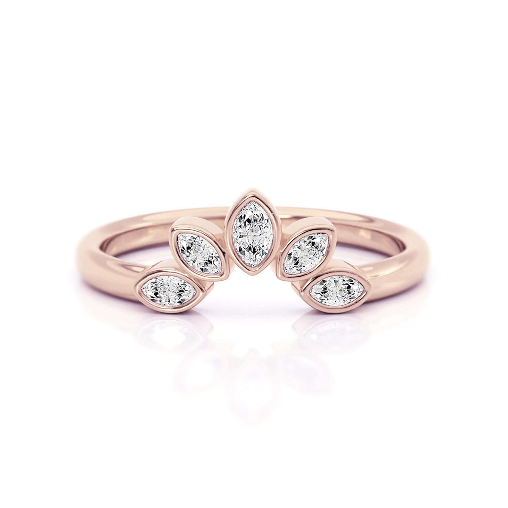 Classic Bezel Nesting Band | Diamond Marquise Ring Enhancer-Alysha Whitfield