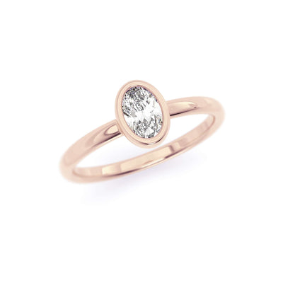 Classic Bezel Oval | Diamond or Moissanite Solitaire Ring | Rose Gold