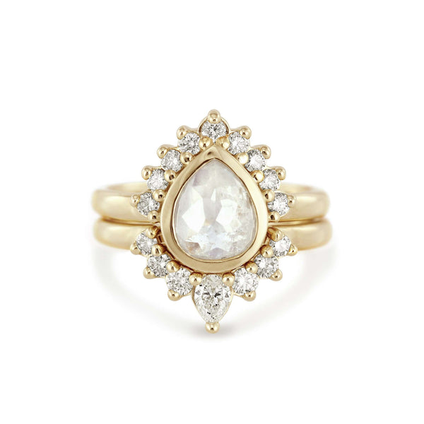Jasmine | Pear Rose Cut Ice Diamond | Halo Engagement Ring | 14k Yellow Gold