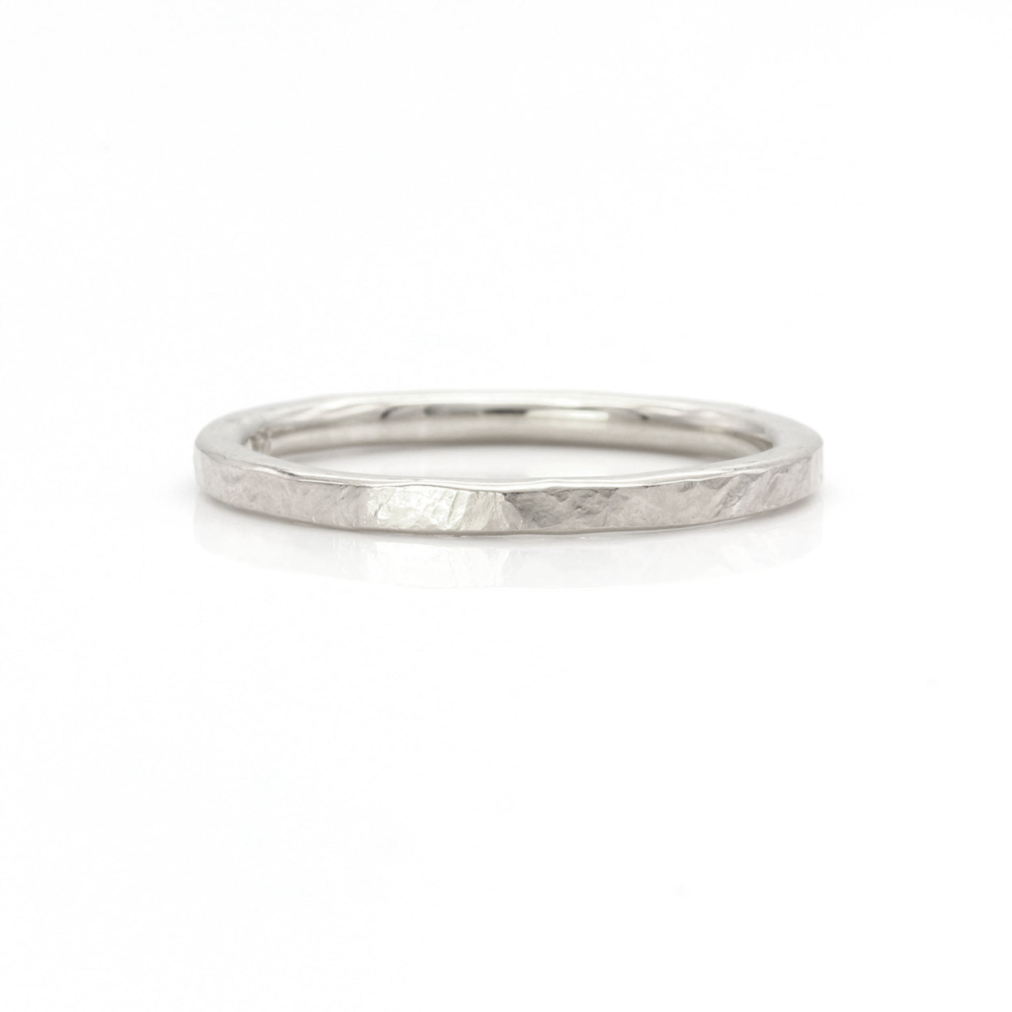 Organic Silk Textured Band | 2mm Wide | Palladium White Gold, Platinum
