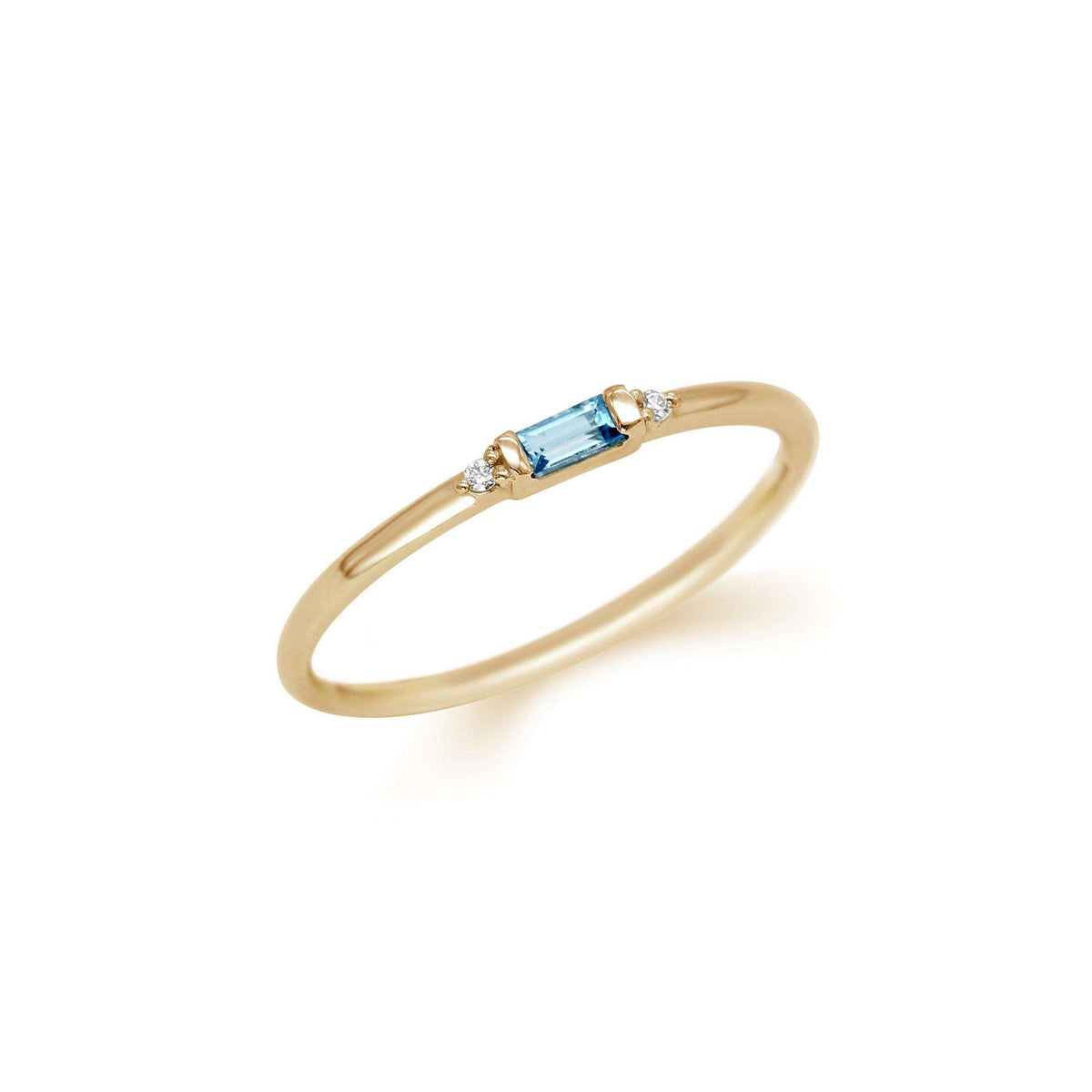 Petite Baguette Gemstone & Accent Diamond Stacking Ring Set | Yellow Gold