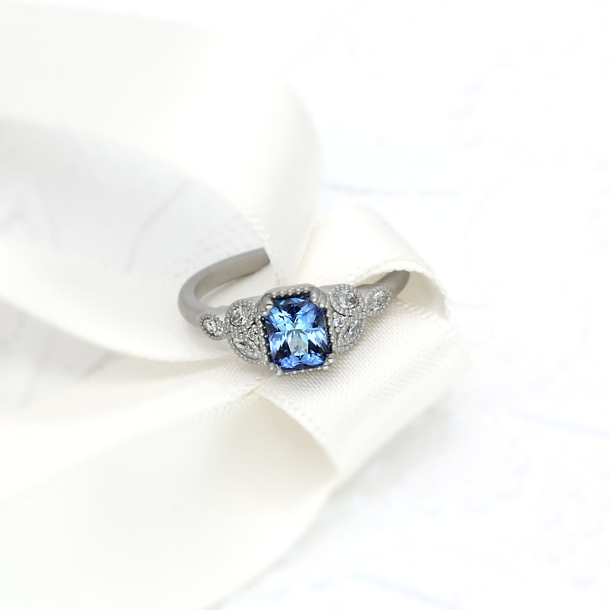 Elle - Cornflower Blue Sapphire Vintage Inspired Engagement Ring | Platinum