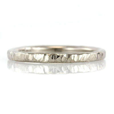 Simple Rustic Hammer Textured Ring Band - 2mm-Alysha Whitfield