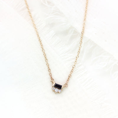 Black Tie Necklace - Baguette Black Diamond & White Diamonds - Platinum