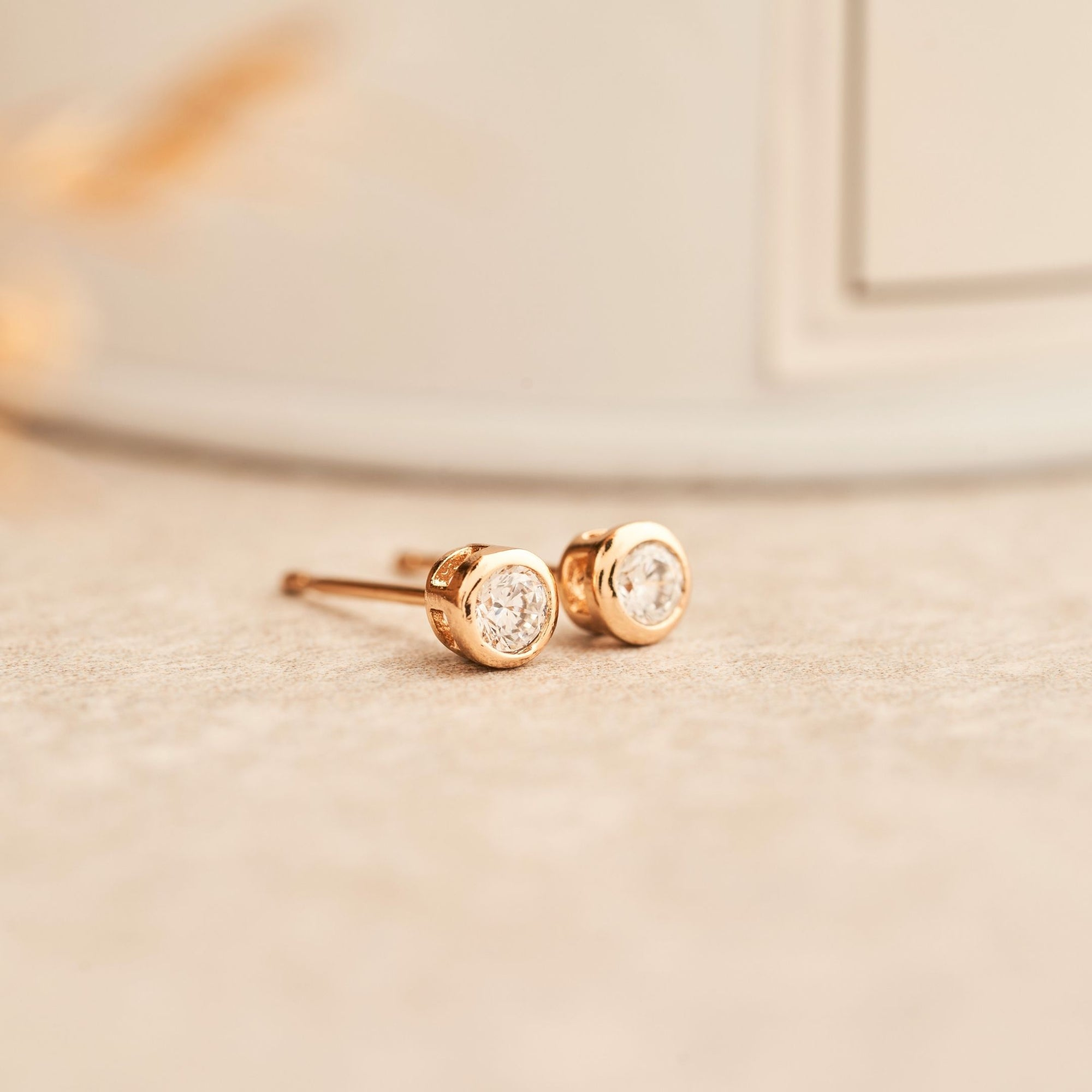 Classic Bezel Earrings | White Diamond Studs | Rose Gold