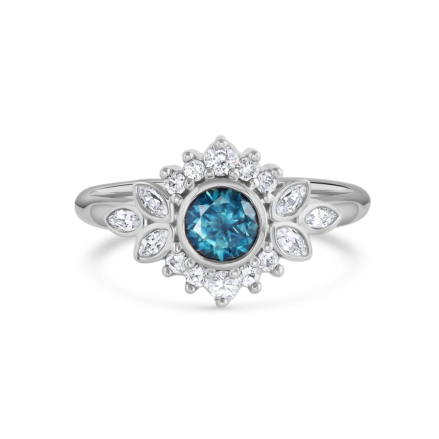 Dahlia | Teal Montana Sapphire Ring with Diamond Halo | White Gold, Platinum
