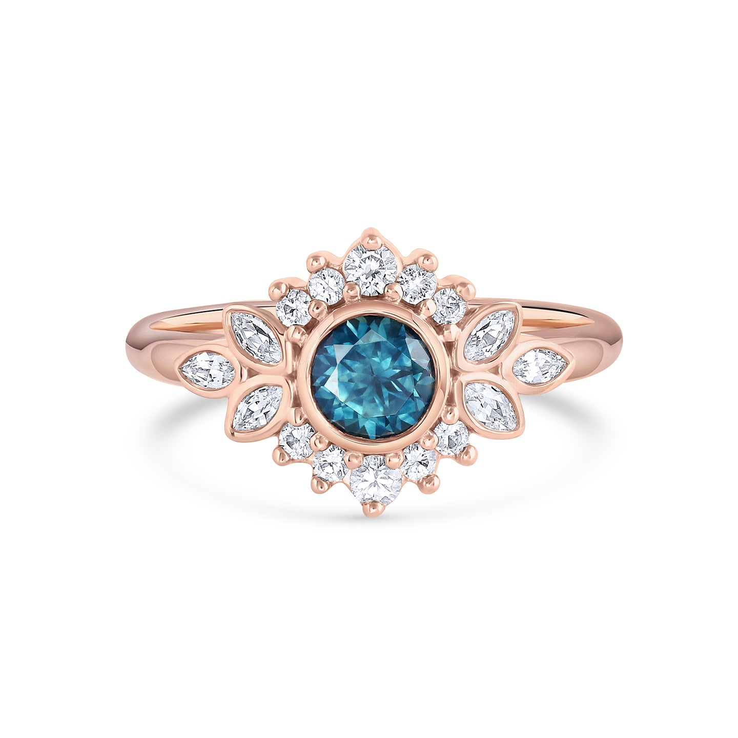 Dahlia | Teal Montana Sapphire Ring with Diamond Halo | Rose Gold
