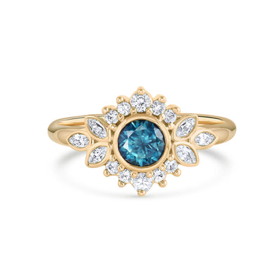 Dahlia | Teal Montana Sapphire Ring with Diamond Halo | Yellow Gold