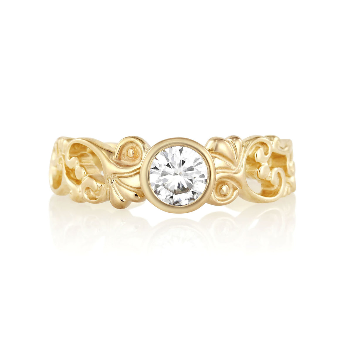Filigree Engagement Ring with Diamond or Moissanite | Yellow Gold