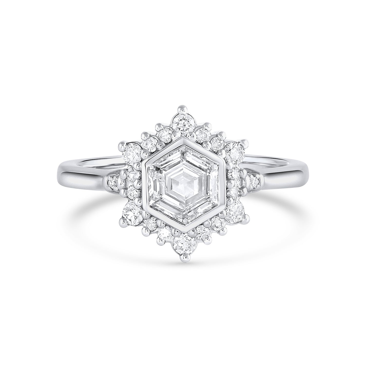 Camellia | Hexagon White Diamond | Halo Engagement Ring | Platinum