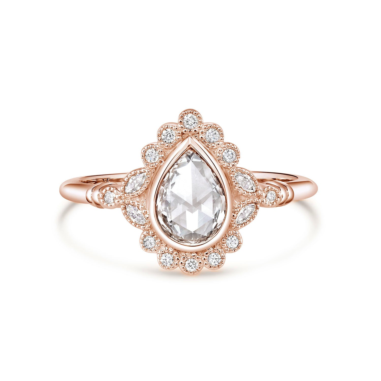 Everly | Pear Rose Cut Moissanite Milgrain Bezel Engagement Ring | Rose Gold