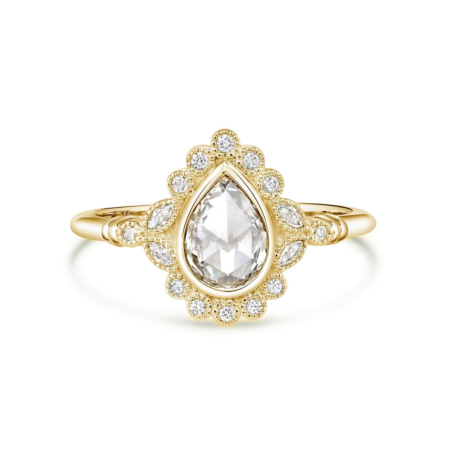 Everly | Pear Rose Cut Moissanite Milgrain Bezel Engagement Ring | Yellow Gold