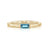 Baguette Birthstone Ring with Hammered Band | Yellow Gold