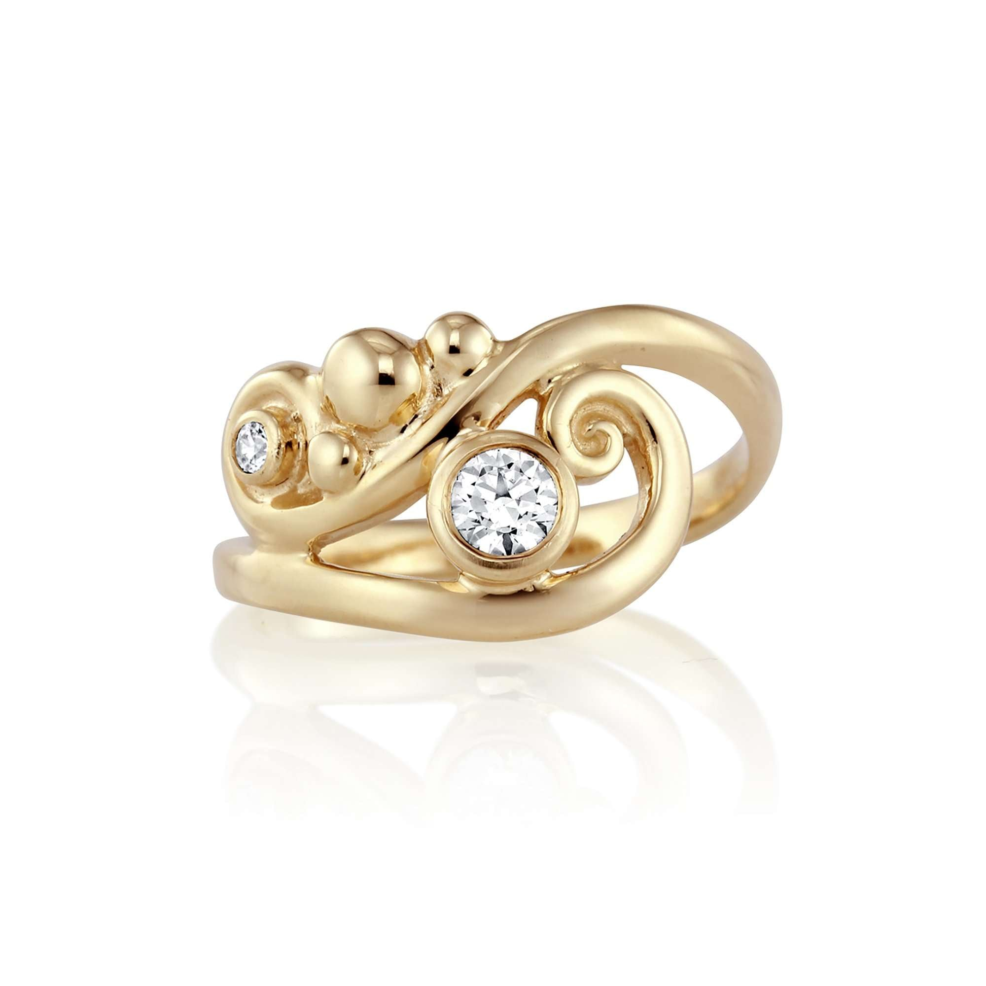 Bubbly Waves Diamond Engagement Ring | Yellow Gold