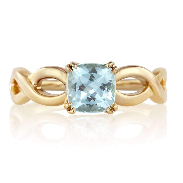 Aquamarine Claw Prong Ring with Open Rope Band