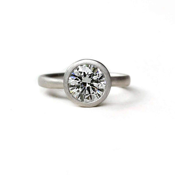 Low Profile Satin Forever One Moissanite Ring