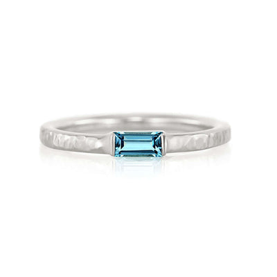 Baguette Birthstone Ring with Hammered Band | Palladium White Gold