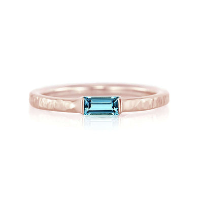 Baguette Birthstone Ring with Hammered Band | Rose Gold