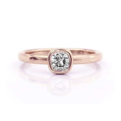 Classic Bezel Cushion | Diamond or Moissanite Solitaire Ring | Rose Gold