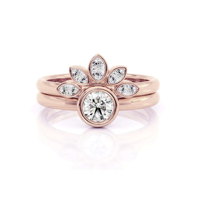 Classic Bezel Round | Diamond or Moissanite Solitaire Ring | Rose Gold