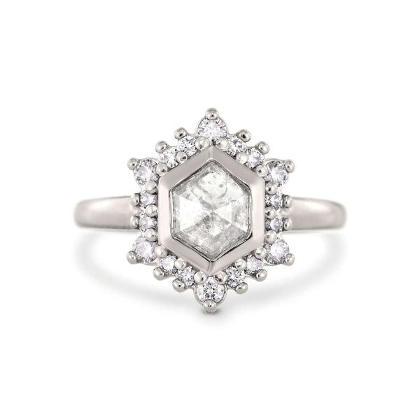 Camellia | Hexagon Rose Cut Ice Diamond | Halo Engagement Ring | 14k Palladium White Gold