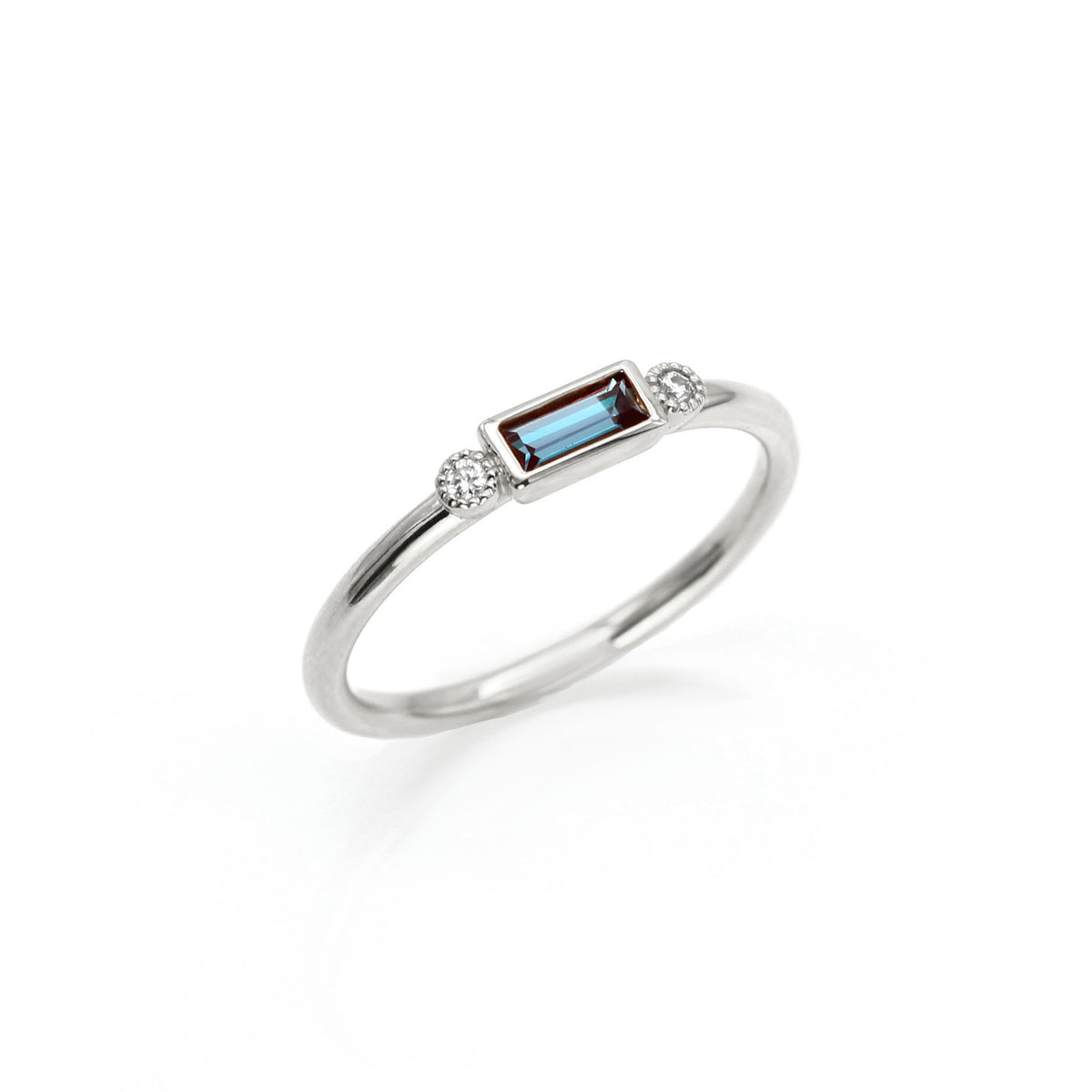 Baguette Birthstone Rings with Accent Diamonds | Palladium White Gold