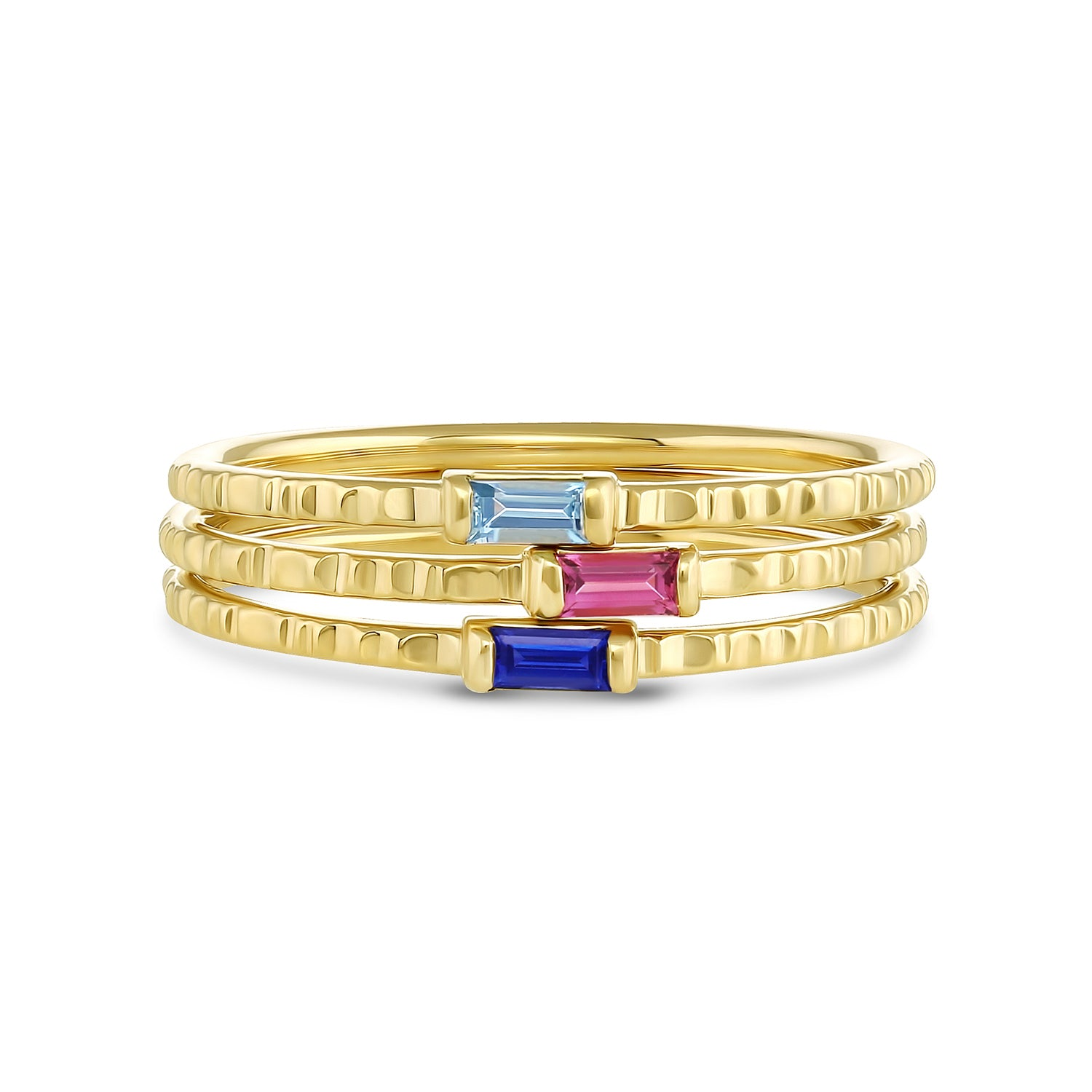 Petite Baguette Gemstone Stacking Ring | Yellow Gold
