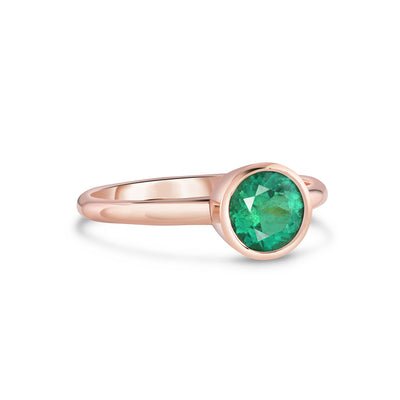 Natural Colombian Emerald Ring | Rose Gold