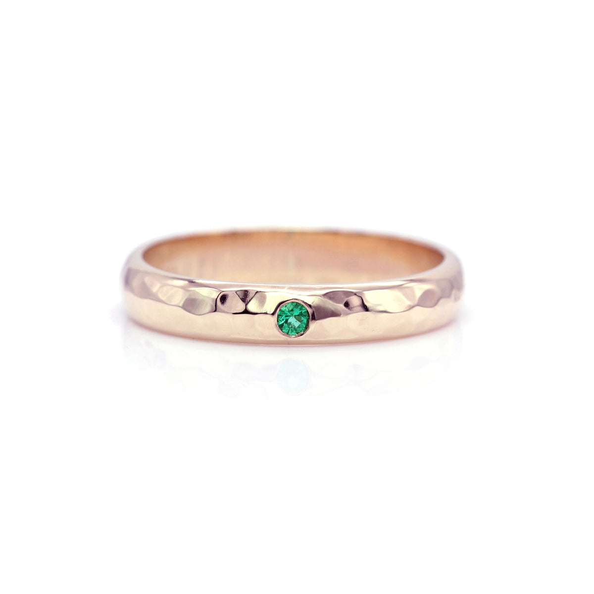 Emerald Hammered Ring Band - Rose Gold